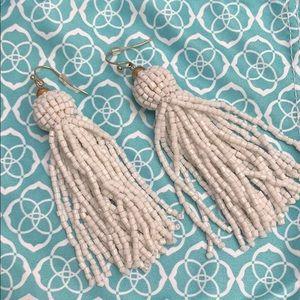 White Bauble Bar Tassle Earrings